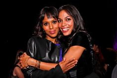 'Scandal' star Kerry Washington gets a hug from actress Rosario Dawson at the First Amendment Party, WHCD/POLITICO