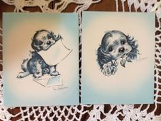 Vintage Greeting Card - by Eve Rockwell- Cocker Spaniel Dogs Eve Rockwell EB1543