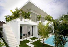 Lovelli Residence Bali: A Mediterranean Villa with Aesthetic Architecture Design Modern Tropical House, Tropical House Design, Tropical Houses, Tropical Paradise, Interior Design Minimalist, Minimalist Decor, Minimalist Kitchen, Minimalist Style, Minimalist Bedroom