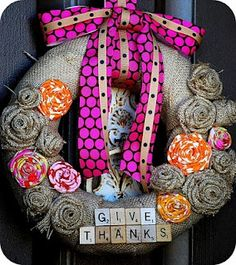 yet another burlap wreath with awesome burlap flowers