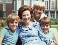 Queen Beatrix of the Netherlands with her sons - Prince Johan-Friso, Willem- Alexander, Prince of Orange & Prince Constantijn, late 1970s