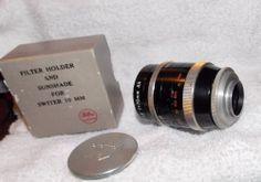 Kern-Paillard Switar 75mm fast f1.9 C-Mount Lens W/Hood