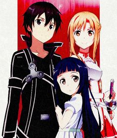 Sword Art Online, Kirito, Asuna, and Yui