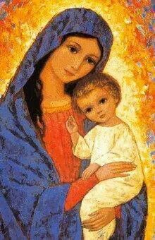 Blessed Mother Mary and baby Jesus