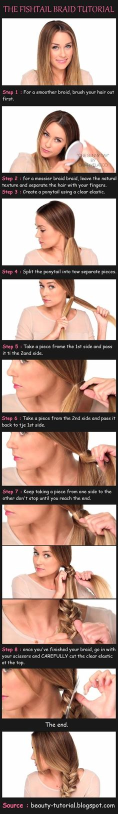 fish-tail braid tutorial//I almost didn't pin this because of the spelling, but you get the idea.