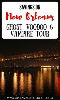 An amazing way to experience New Orleans is at night on a Ghost, Voodoo & Vampire Tour! If you're going to be visiting New Orleans Louisiana, you should take this evening walking tour. You'll see the Saint Germaine House, home of the rumored vampire, Jacques Saint Germaine. You'll hear tales of local hauntings, pirates & witchcraft. Find out how you can get the best price & save money on your tour. Excellent if you're looking for unique, fun things to do in New Orleans. NOLA travel advice… Visit New Orleans, New Orleans Travel, New Orleans Louisiana, Vacation Deals, Vacation Spots, Bourbon Street, Walking Tour, Voodoo, Travel Advice