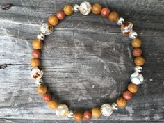 Tibetan Agate Wood Jasper Sunstone Stretch by ChooseLoveDesigns