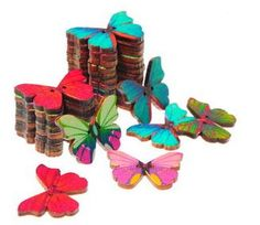 Colorful Wooden butterfly buttons