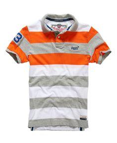 Superdry Double Stripe Hit Polo Camisa Listrada, Listras, Camiseta Polo  Laranja, Polos Azuis e48053e9d5