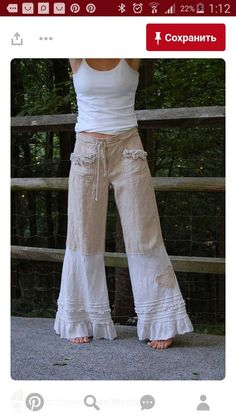 Linen Pants with Ruffle Cream Nautical Sailor by persnickedee make it of your old pands Look Hippie Chic, Hippie Style, Boho Chic, Bohemian, Hippie Boho, Look Fashion, Diy Fashion, Ideias Fashion, Womens Fashion