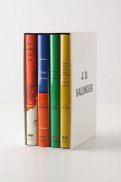J.D. Salinger hardcover set: ---- The Catcher in the Rye, Nine Stories, ---- Franny and Zooey, Raise High the Roof Beam, and Carpenters and Seymour: An Introduction.  I have this in my room!