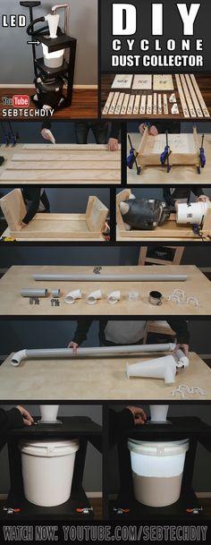 How to build a #diy #dust #collector!! Click to watch on youtube! #dustcollection #cyclone #shopvac #oneida #dust #dustdeputy #deputy #sawdust #saw #wood #woodworker #woodworking #menuiserie #bois #woodshop #workshop #smallworkshop #tools #powertools #ridgid #dewalt #makita #milwaukee #osha #carpenter #carpentry #howtobuild