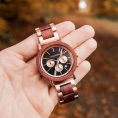 """""""Sunrise"""" is an elegant wood watch model from our Horizon collection with a vivacious combination of rose gold, padauk, and black marble. Most Beautiful Watches, Amazing Watches, Cool Watches, Watch Model, Black Marble, Simply Beautiful, Wood Watch, Michael Kors Watch, Sunrise"""