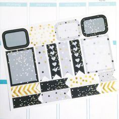 Black and Gold Assorted Pack Planner Stickers- 18 count