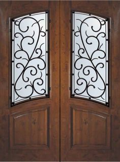 bellagio wrought iron square top arch lite mahogany double doors 6 0 x 8 0 - Double Front Doors