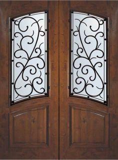 Bellagio Wrought Iron Square Top Arch Lite Knotty Alder Do… | Flickr