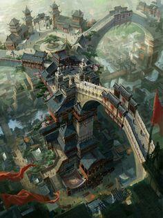 dragon_city by_c_h_e_n_k_a_i. Asian fantasy art, digital illustrations and character studies. Fantasy City, Fantasy Kunst, Fantasy Places, Fantasy World, Fantasy Village, Fantasy Concept Art, Fantasy Artwork, Fantasy Landscape, Landscape Art