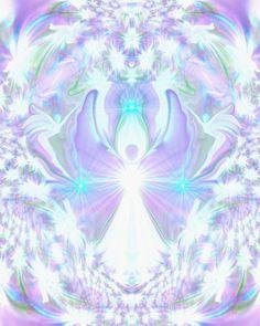 Crown Chakra Art Angel Wall Decor Reiki Healing Energy Art Violet White 8 x 10 Print