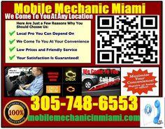 Mobile Mechanic Miami FL Auto Repair Service Garage shop that comes to you call 305-748-6553 http://mobilemechanicinmiami.com/