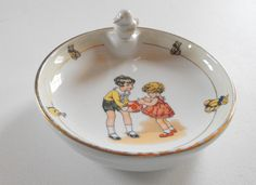 French Vintage Baby's Dish from   ~FRENCH VINTAGE LINENS AND ANTIQUES~  Welcome…et Bienvenue!