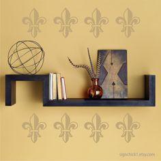 French Fleur de Lis wall decals Set of 15 choose color New Design New Item. $18.00, via Etsy.
