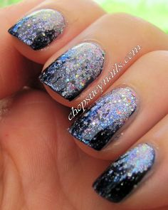 Reverse Glitter Gradient Manicure with Blue (Navy) and Silver polishes