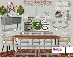 Absolutely GORGEOUS! Classic Holiday Dining Room Mood Board from the Home Decorators Collection