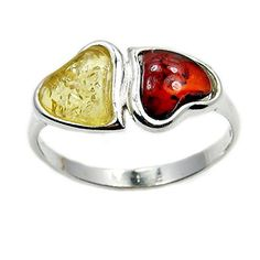 Soulmates' Sterling Silver Natural Baltic Amber Heart Ring, Size 7.25