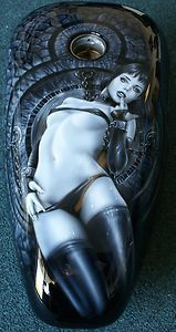 "Custom Motorcycle Painting On Your Tins ""Harley Girl"" gas tank freehand airbrush"