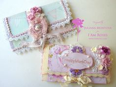 Shabby Chic Mother's Day Wallet Cards, lace, handmade flowers, crochet