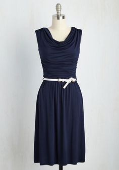 Bayside Vacay Dress in Navy - Blue, White, Solid, Belted, Ruching, Casual, A-line, Cap Sleeves, Good, Cowl, Jersey, Knit, Long, Work, Nautical, Top Rated