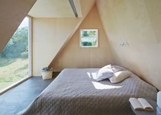 """This small summer house has been described by the architect as """"a bit like a treehouse for adults"""". Created by Leo Qvarsebo for himself and his family, Wooden Summer House, Small Summer House, Wall Design, House Design, Triangle House, Sweden House, Interior Architecture, Interior Design, Architect House"""