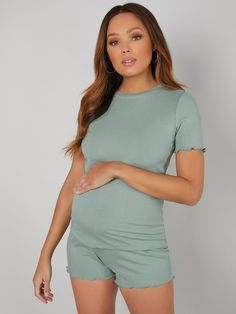 Maternity Lettuce Edge Rib-knit Tee With Short Pajama Set Maternity Pajama Set, Maternity Sleepwear, Pajama Shorts, Lettuce, Rib Knit, Pajamas, Knitting, Tees, Clothes