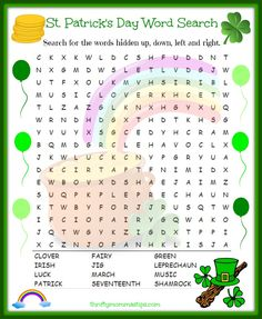 Printable Coloring Pages For Kids Free Printable St Patricks Day Word Search St Patricks Day Crafts For Kids, St Patrick's Day Crafts, Easy Crafts, St Patrick's Day Words, St Patrick's Day Games, St. Patricks Day, Saint Patricks, St Patrick Day Activities, St Patrick's Day Decorations