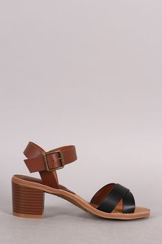Bamboo Crossing Straps Casual Chunky Heel