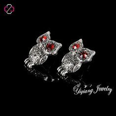 113e2e8d8 US $3.09 |Aliexpress.com : Buy Promotion Bohemian Retro Vintage Owl Earrings  With Antique Silver Plated Crystal Stud Earrings For Girls from Reliable ...