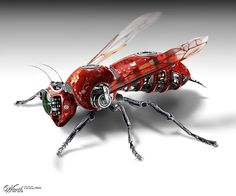 Many years ago, attaching a camera to a drone would have been a ludicrous idea to simply put, would not have been possible. Cyberpunk, Animal Robot, Science Fiction, Arte Robot, Robot Concept Art, Insect Art, Robot Design, Futuristic Technology, Shadowrun