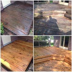 Before & After wash on a cedar deck by: J&H Painting.