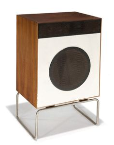 """Dieter Rams  L2 Speaker  Designed 1958  Walnut, pine, lacquered wood, steel  Braun  Case-back with printed mark """"Braun L2 5 Ohm"""""""