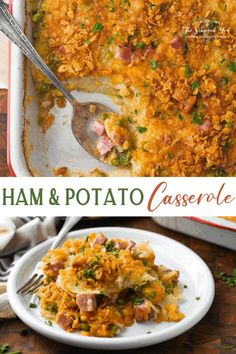 With layers of thinly-sliced potatoes, diced ham, peas and a made-from-scratch cheese sauce, this Ham and Potato Casserole with Corn Flakes on top is an easy dinner that the whole family will love! Leftover Ham Recipes Scalloped Potato Casserole, Ham And Potato Casserole, Scalloped Potatoes And Ham, Casserole Recipes, Ham Sausage Recipe, Leftover Ham Recipes, Leftover Turkey, Food Dishes, Ham Dishes