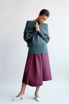 Love the sweater. Love the culottes. Don't understand the wedding shoes
