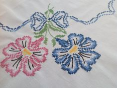 Vintage Cotton Cross-Stitch Floral Tablecloth-Free by PlumTasty