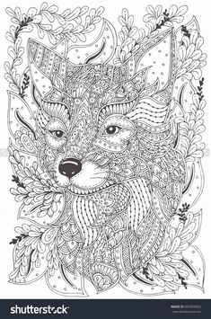 365 Animal Pattern Coloring Pages Best Of Fox Hand Drawn with Ethnic Floral Doodle Pattern. Fox Coloring Page, Pattern Coloring Pages, Mandala Coloring Pages, Animal Coloring Pages, Coloring Book Pages, Printable Coloring Pages, Coloring Pages For Kids, Coloring Sheets, Colouring For Adults