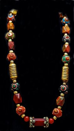 Nepalese Carnelian and Vintage Eye Beads by SilkRoadJewelry, $110.00