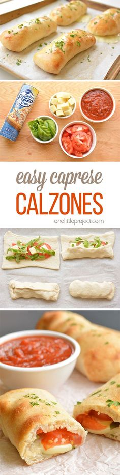 These caprese calzones are so easy to make and they taste SO GOOD! Only 5 ingredients and they take less than 10 min to prepare. The fresh basil and tomato flavors are amazing! yummy meals freezer cooking Easy Caprese Calzones - One Little Project Veggie Recipes, Dinner Recipes, Cooking Recipes, Healthy Recipes, Kids Vegetarian Meals, Easy Vegetarian Appetizers, Easy Vegitarian Recipes, Vegetarian Casserole, Food Porn