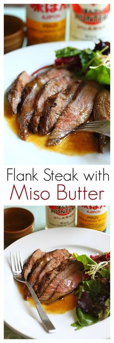 Flank Steak with Miso Butter - the most tender, juiciest, and delicious flank steak ever. Make it at home with this easy recipe | http://rasamalaysia.com