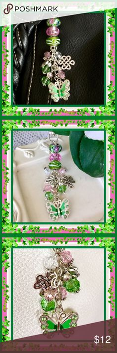 🌺🌴🌺 BAG BUDDIES 🌺🌴🌺 🌺🌴🌺 Do you wear jewelry?  Well then, why not your handbag?  Each one has a swivel key chain to connect to a handbag.  This one is done in shades of green, pink and crystal.  Two of the beads have the .925 sterling silver markings.  Each bead has a design.  There are two silver charms and a larger green butterfly.  The beads are in the same shades. 🌺🌴🌺 Jewelry