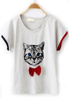 Light Grey Short Sleeve Cat Print Bow T-Shirt - Sheinside.com