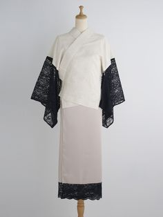 ダージリン 襦袢・藍墨茶 | DOUBLE MAISON lace ruffled kimono レースの袖の着物 着物のやまと