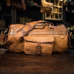Vintage Leather Duffle Bag: Everett, Camel